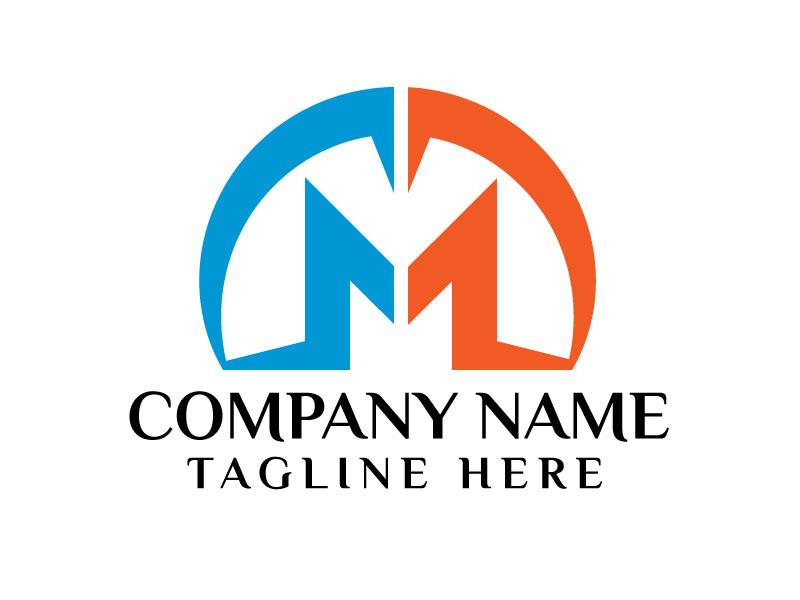 Blue Letter M Logo Design Vector