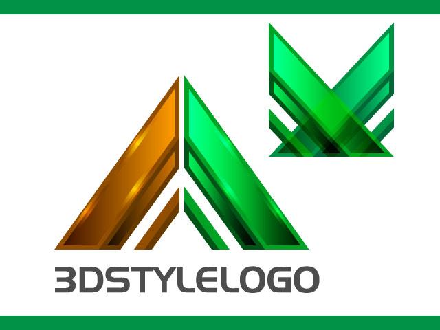 3d Style logo design free vector