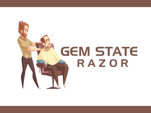 Gem State Razor Logo Design Vector