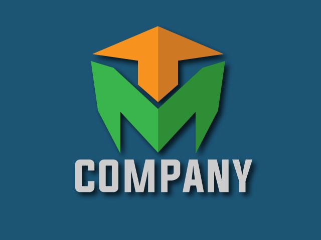Modern Letter M 3D Logo Design Free Download
