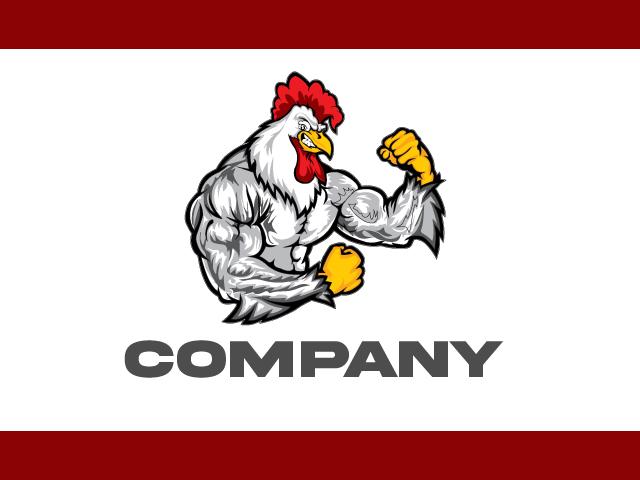 Chicken Strong Logo Design Vector