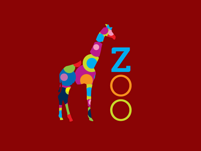 Giraffe Color Circles Zoo Logo Design Vector