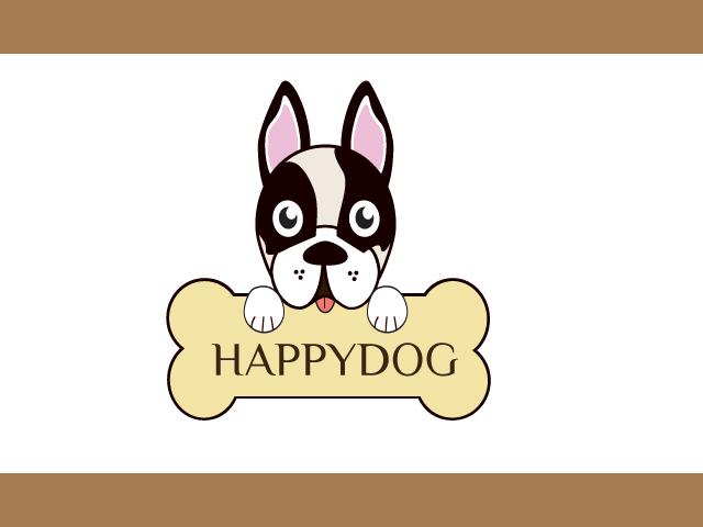 Happy Dog Logo Design Vector