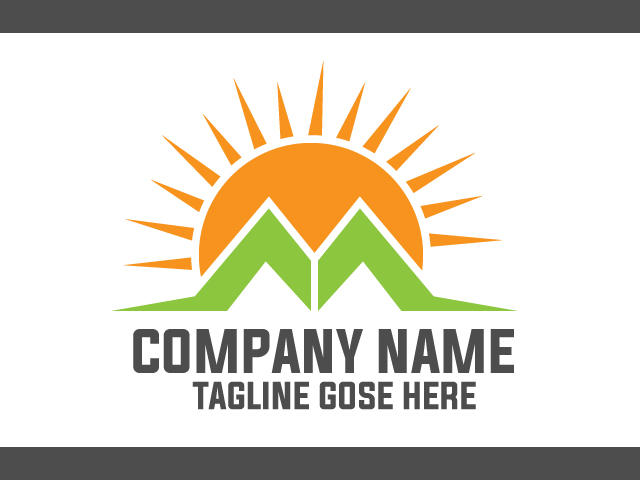 Sunrise Logo Design With Green Nature