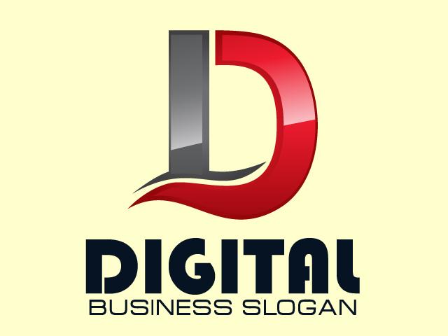 Letter D Digital Logo Design Vector