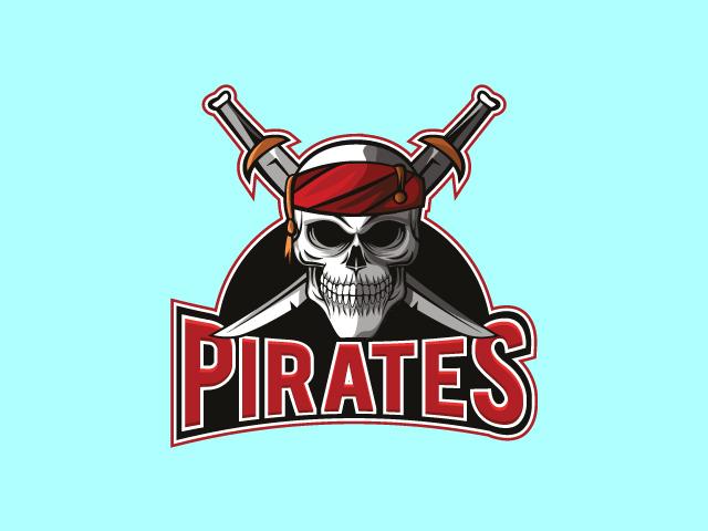 retro pirates logo design vector