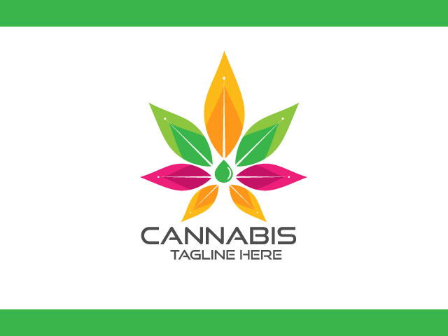 Modern Logo Design For Cannabis with drop oil Vector