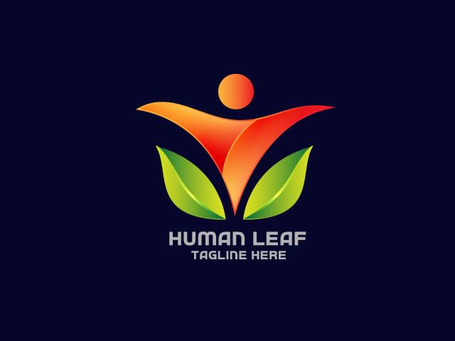Modern Logo Design For Human Leaf